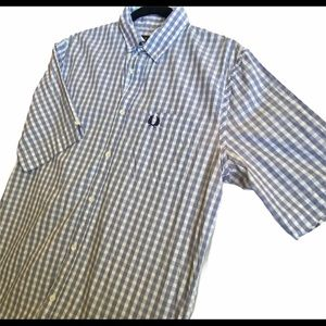 Fred Perry gingham short sleeve button up size M